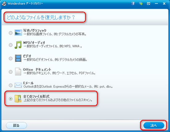 USBから復元したいファイルタイプを選択