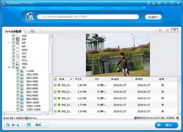 復元するファイルの詳細を確認する